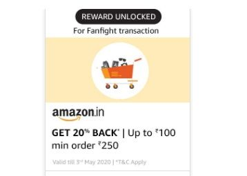Get 20% back upto Rs 100 on FanFight