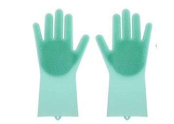 Eco Magic Silicone Latex-Free Scrub Cleaning Gloves (Multicolour, 1 Pair) At Rs.264