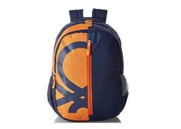 Flat 74% off on United Colors of Benetton 34 Ltrs Orange School Backpack at Rs. 599
