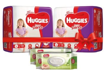 20% Coupon - Huggies Wonder Pants Comfort Pack Large Size Diapers (110 Count) and Huggies Baby Wipes - Cucumber & Aloe Pack of 2 (144 Wipes) at Rs. 1195