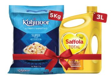27% off - Saffola Total-Pro Heart Conscious Edible Oil , 3 L and Kohinoor Super Value Basmati Rice 5 kg at Rs. 999