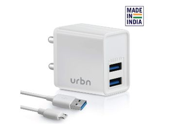 URBN 3.1Amp Dual Port Smart Charge Wall Adapter with 3 feet Fast Charging Micro Cable Included at Rs. 399