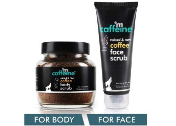 Apply Rs. 50 Coupon - mCaffeine Coffee Exfoliation & Tan Removal Combo | Body Scrub 100gm, Face Scrub 100gm| Oily/Normal Skin | Paraben & SLS Free at Rs. 605