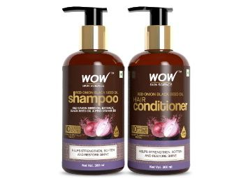 WOW Skin Science Red Onion Black Seed Oil Shampoo & Conditioner Kit With Red Onion Seed Oil Extract, Black Seed Oil & Pro-Vitamin B5 (Shampoo + Conditioner), 600 ml At Rs. 650