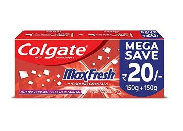 Colgate Max Fresh, Spicy Fresh Red Gel Toothpaste - 300gm, Saver pack at Rs. 140