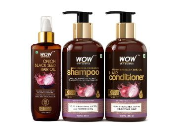 WOW Skin Science Onion Black Seed Oil Ultimate Hair Care Kit (Shampoo + Hair Conditioner + Hair Oil), 800 ml at Rs. 1055