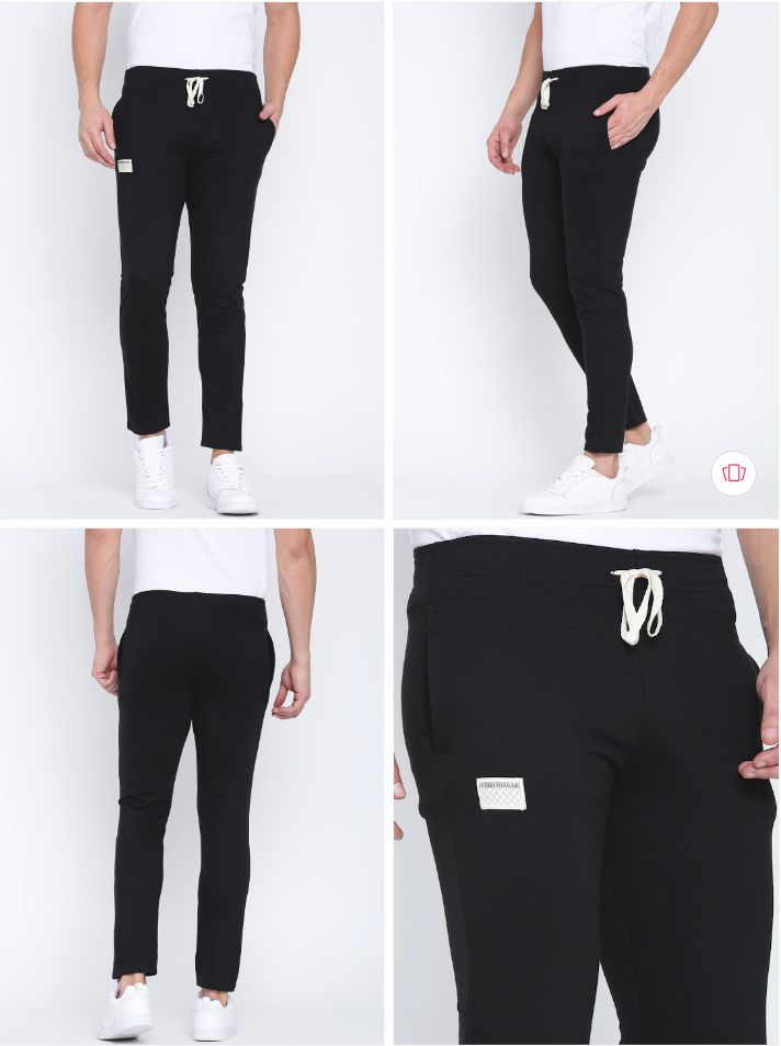 Hubberholme Black Slim Fit Track Pants