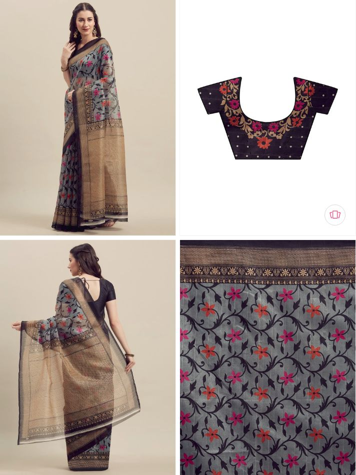 Florence Grey & Gold-Toned Art Silk Printed Saree