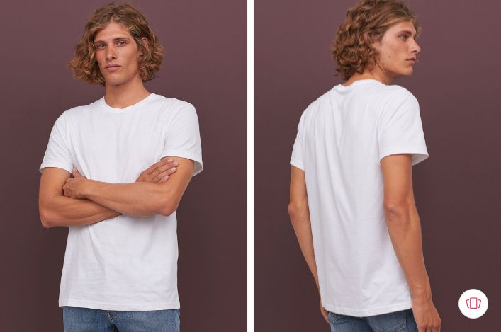 H&M Men White Solid Cotton T-shirt Regular Fit