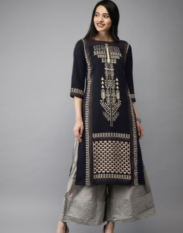 Anouk Women Black & Off-White Printed Straight Kurta