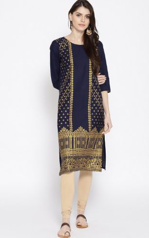 AURELIA Women Navy & Golden Printed Straight Kurta