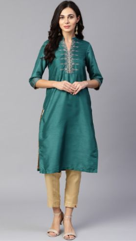 W Women Teal Green Yoke Design Straight Kurta