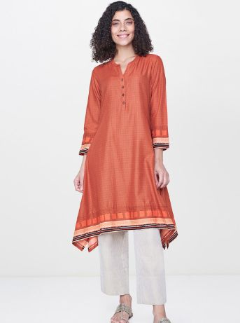 Global Desi Women Orange Printed A-Line Asymmetric Kurta