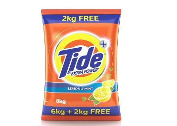 Tide Plus Extra Power Detergent Washing Powder - 6 kg (Lemon and Mint) with Free Detergent Powder - 2 kg