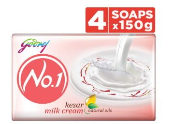 Godrej No.1 Bathing Soap Kesar & Milk Cream, 150g (Pack of 4) at Rs. 92