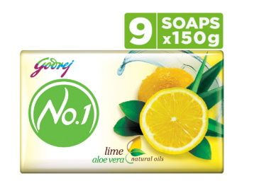Godrej No.1 Bathing Soap – Lime & Aloe Vera, 150g (Pack of 9) at Rs. 200