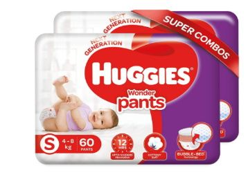 Huggies Wonder Pants, Small Size Diapers Combo Pack of 2, 60 Counts Per Pack, 120 Counts For Rs. 938