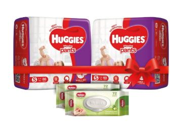 Huggies Wonder Pants Comfort Pack Small Size Diapers (146 Count) and Huggies Baby Wipes - Cucumber & Aloe Pack of 2 (144 Wipes) at Rs. 1150