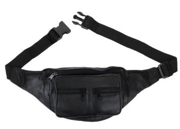 K London Stylish Real Leather Waist Travel Pouch