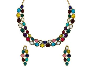 Zaveri Pearls Multicolor Sleek Ethnic Necklace Set for Women