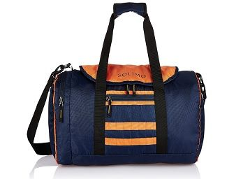 Amazon Brand - Solimo Gym Bag (29 litres, Midnight Blue & Orange)
