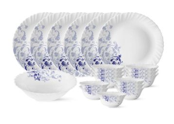 Larah by Borosil Blue Eve Silk Series Opalware Dinner Set, 19 Pieces, Blue Eve Silk at Rs. 999