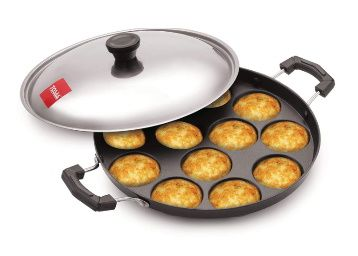 Tosaa 12 Cavity Appam Patra Side Handle with Lid, 23 cm, Black at Rs. 259