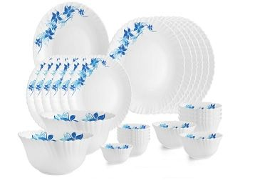 Cello Opalware Dazzle Blue Swirl Dinner Set, 27PCs, White