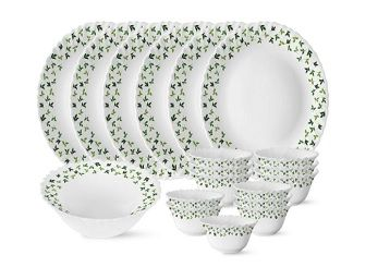 Larah by Borosil Sage Silk Series Opalware Dinner Set, 19 Pieces, White