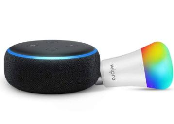 Echo Dot (Black) Combo with Wipro 9W LED Smart Color Bulb - Smart Home Starter Kit At Rs. 2299