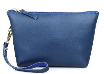 Mammon PU Makeup Bag Pouch Purse Handbag Organizer with Zipper (Mu-pouch-Blue)