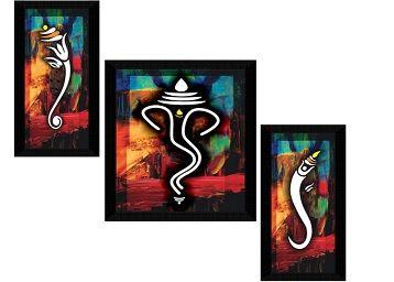 SAF Set of 3 Ganesha Modern Art UV Textured Home Decorative Gift Item Framed Painting