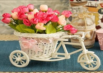 Cycle Shape Flower Vase with Peonies Bunches