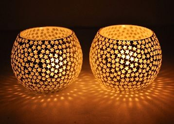 Mosaic Glass Tealight Candle Holders(Pack of 2)