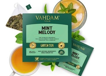 VAHDAM, Mint Tea Bags - 15 Count | Green Tea Blended with Mint | Refreshing Mint Green Tea Bags | 100% Natural Peppermint Tea Bags