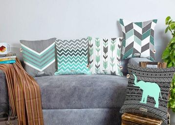 BRICK HOME Grey Teal Multicolor Printed Canvas Cotton Cushion Cover, 16X16 Inches, Set of 5