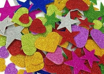 Mixed Shaped Glitter Eva Foam Self Adhesive Stickers for Art & Craft, Card Making, Scrapbooking, Paper Decoration, School Crafts for Kids(Set of 60 Pieces)