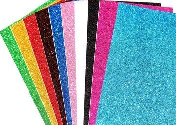 A4-10 Sheet Glitter Sheets (A4 Size) Art & Craft Glitter Sheet Paper(Colour Sheet)