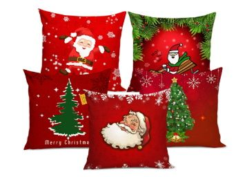TIED RIBBONS Christmas Decorations Cushion Cover (12 X 12 Inch ) -Set of 5 AT Rs. 549