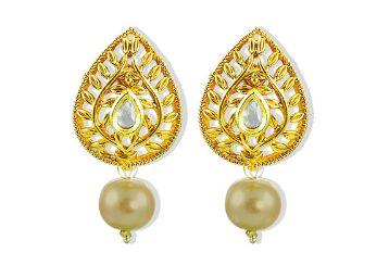 Zaveri Pearls Antique Golden Pearl Drop Earrings