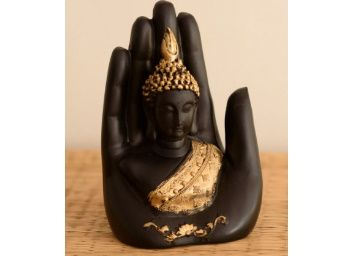eCraftIndia Golden Handcrafted Palm Buddha Polyresin Showpiece At Rs. 251