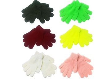 Kids Plain Coloured Winter Warm Knitted Magic Gloves for 7-8 year(multicolour) pack of_6