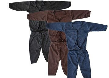 Babies Thermal Top and Bottom Set, Winterwear (Multicolor, Pack of 3)