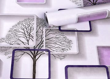 Wolpin Wall Stickers DIY Wallpaper (45 x 500 cm) 3D Frames and Trees Self Adhesive Decals Living Room Home Interior Decoration, Purple