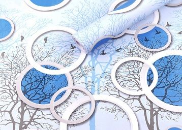 Wolpin Wall Stickers DIY Wallpaper (45 x 500 cm) 3D Circles and Trees Self Adhesive Decals Living Room Home Interior Decoration, Blue