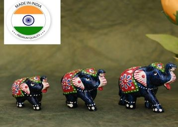Great Art Ethnic Indian Paper Mashe Elephant Showpiece Home, Office, Table Decor, Best Return Gift Made - Set of 3 (Green Blue)