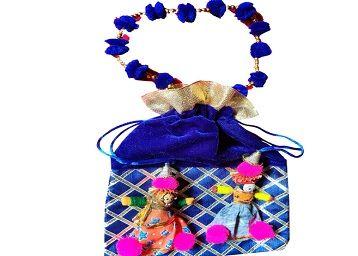 JH Gallery Handmade Puppets Potlis/Potli/Potli Bag/Ethnic Purse/Gifting/Traditional Clutch/Fancy Potli/Gift Bag/Gift Bags for Return Gifts Bags/Festival and Wedding Gifting/Shagun Pouch Potli (Multi-Coloured, J283)