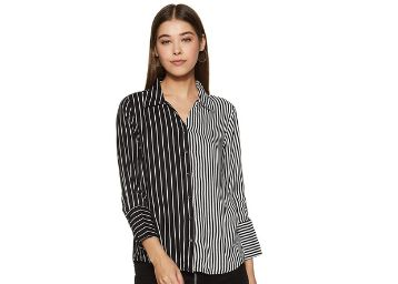 Life by Shoppers Stop Womens Collared Stripe Shirt