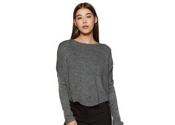 Life by Shoppers Stop Womens Round Neck Slub Top_Grey