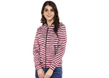 Life by Shopper Stop Womens Hooded Neck Striped Jacket